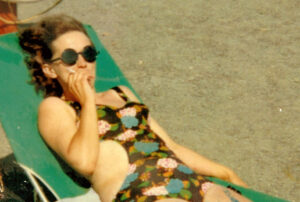 Mom, relaxing on the beach at Butterpot